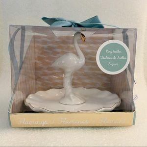 Other - Flamingo Gold Trim Porcelain Ring Holder